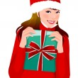 Portrait of a woman holding Christmas presents — Stock Vector