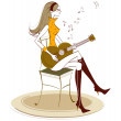 Side view of woman holding guitar — Stock Vector