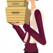 Side view of woman holding box — Stock Vector