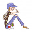 Vector de stock : Sportive girl with drinks