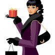 Portrait of a woman holding a gift — Stock Vector