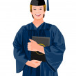 A university student — Stock Vector