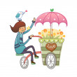 Girl with a parrot on his head driven trolley — Stock Vector