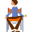 Man sitting on a chair - Imagen vectorial