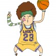 Royalty-Free Stock Vector Image: Funny guy playing basketball