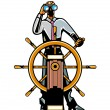 Stock Vector: Businessmat helm of ship looking through binoculars