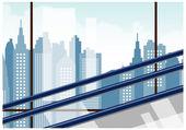 City Landscape outside Window — Stock Vector