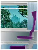 Chair in front of open window — Stock Vector