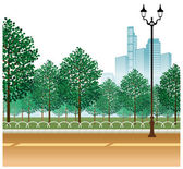 Garden and Lamp post on road — Stock Vector