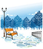 Bench and Lamp post in park — Stock Vector