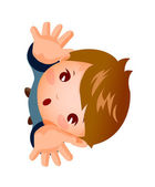 Extreme close-up of boy looking up — Stock Vector