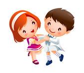 Boy and Girl dancing — Stock Vector