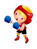 Chica con guantes de boxeo — Vector de stock
