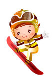 Girl skiing — Stock Vector