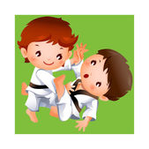 Karate competition between two boys — Stock Vector