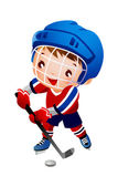 Boy ice hockey player — Stock Vector