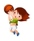 девушка, бросая баскетбол — Cтоковый вектор