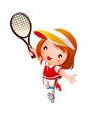 Girl Playing tennis — Stock Vector