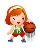 Meisje basketbal stuiteren — Stockvector