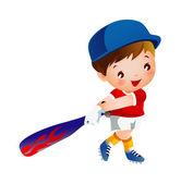 Chlapec hraje baseball — Stock vektor