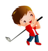 Boy playing Golf — Stock Vector