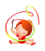 Girl practicing rhythmic gymnast performing with ribbon — Stock Vector