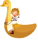 Girl riding on duck — Stock Vector