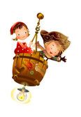 Boy and Girl sitting on hanging barrel — Stock Vector