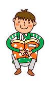 男孩抱着书的肖像 — 图库矢量图片