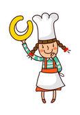 Portrait of girl in chef uniform holding alphabet c — Stock Vector