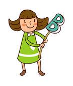 Retrato de menina segurando o alfabeto b — Vetor de Stock