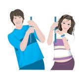 Giovane coppia — Vettoriale Stock