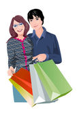 Couple with shopping bags — Stock Vector