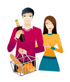 Young couple with champagne bottle and bun — Stock Vector