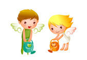 Boy and Girl angels watering — 图库矢量图片