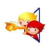 男孩和女孩在窗外挥动的手 — 图库矢量图片