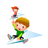 Boy and Girl flying on paper plane — Stock Vector