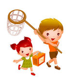 Niño y niña con cesta de picnic y red de pesca — Vector de stock