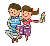 Boy And Girl reading book — Stock Vector