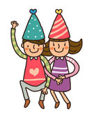 Boy And Girl wearing birthday cap — ストックベクタ