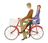 Couple riding on bicycle — Stock Vector