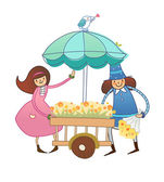 Boy and Girl near flower cart — Stock Vector