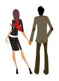 握着的手在一起的情侣 — 图库矢量图片