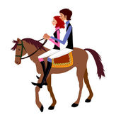 Young couple riding on Horse — Stock Vector