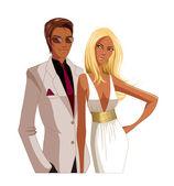 Portrait of Elegant couple — Stock Vector
