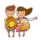 Portrait of Boy and Girl holding bun and bread — Stock Vector