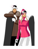 Couple with snowboards, wearing skiing outfits — Stock Vector