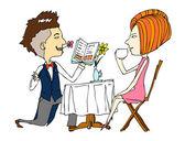 Portrait of couple in café — Stock Vector