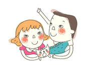 Boy and Girl with pet — Stock Vector
