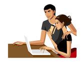 Paar mit einem laptop — Stockvektor